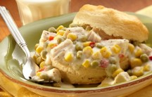 Creamy Turkey and Vegetables over Biscuits