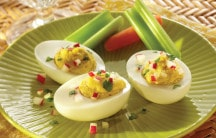 Curried Garbanzo Bean Deviled Eggs