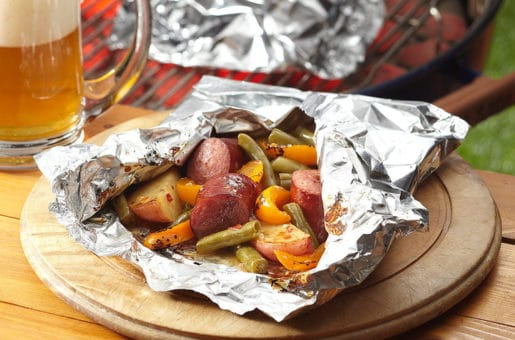 Sausage, Potatoes and Green Bean Grill Packets